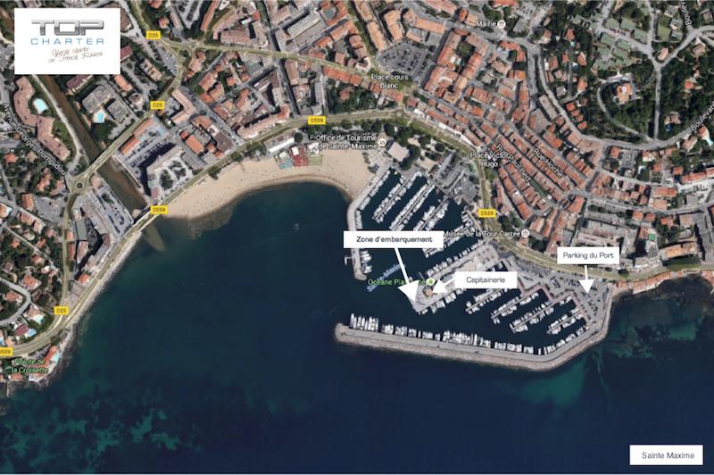 Port de Sainte Maxime pour embarquer location bateau Top Charter (83)