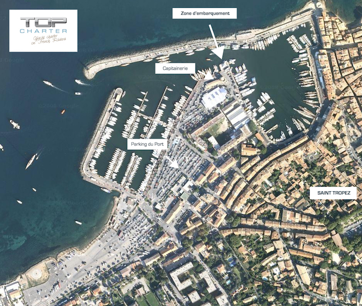 Zone d'embarquement Saint Tropez port - Top Charter - location de bateaux
